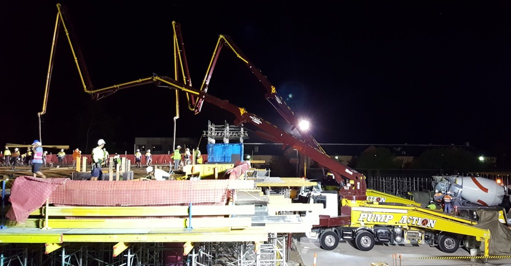 Concrete Pump Boom Brisbane Commercial Warehouse Night Works
